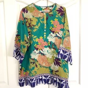 CAbi | Poetry Floral Silk Tunic Style 812
